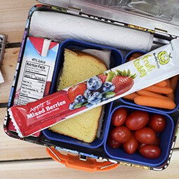 school lunchbox flat-lay sandwich buddy fruits lunch healthy snack tube tomatoes juice UGC branded content